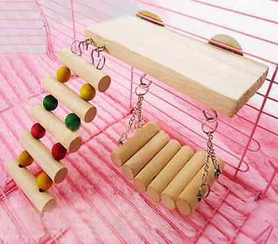 Wooden Cage Toys Hanging Ladder Swing Bridge for Parrot Bird Mouse Rat Hamster