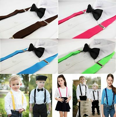 Boys Girls Kids Clip On Suspenders Adjustable + Bow Tie Bowtie Wedding Pageboy