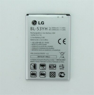100% NEW 2017 Original Battery for LG G3 D850 D855 VS985 F400 3000mAh BL-53YH
