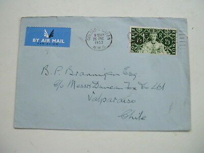 1953 GB to CHILE AIRMAIL CORONATION COVER 1/3d stamp