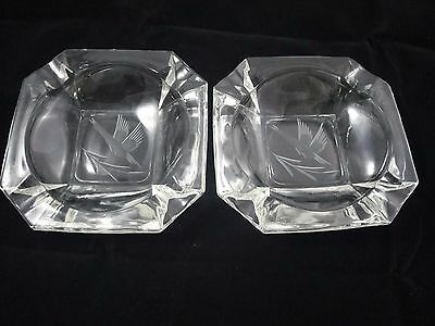 Pair Vintage Heavy Clear Glass Ashtrays Etched Goose Duck