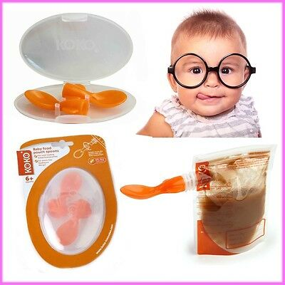2* Baby Pouch Feeding Spoon With Travel Case Weaning Essential No Spill No Mess