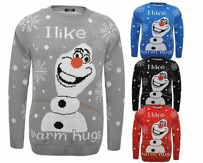 Kids Knitted I Like Warm Hugs Olaf Christams Xmas Novelty Jumper Top 3-14 Years