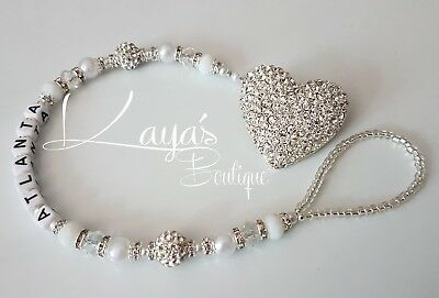 *Diamanté Heart* Bling Romany Crystal & White Shamballa Dummy Clip - Any Name
