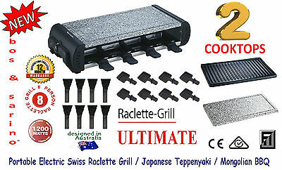 BOS & SARINO Swiss Raclette Non Stick Grill BBQ Fondue 2Cooktop 8 Person Racklet