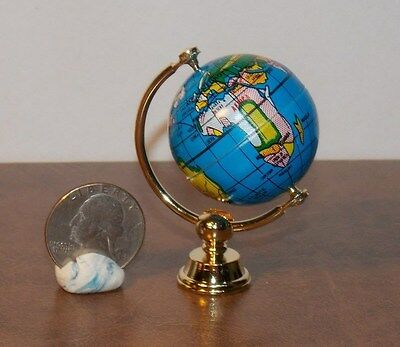 Dollhouse Miniature World Globe on Gold Stand  1:12   1 inch scale  T2