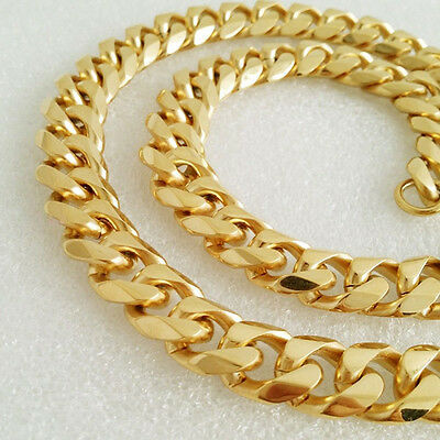 "Heavy 15mm, 30"" 18K Gold Plated Stainless Steel Miami Cuban Chain Necklace 404G"