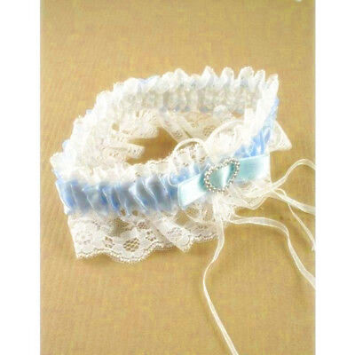 Blue Ribbon and White Lace Garter with Silver Heart for Hen Party Wedding Bride