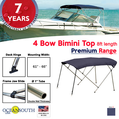 "Bimini Top 4 Bow 61""- 66"" Wide 8ft Long Blue PREMIUM RANGE With Rear Poles"