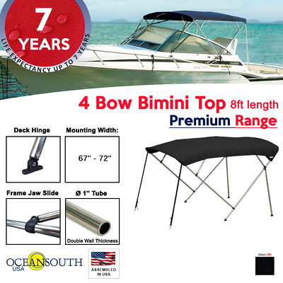 "Bimini Top 4 Bow 67""- 72"" Wide 8ft Long Black PREMIUM RANGE With Rear Poles"