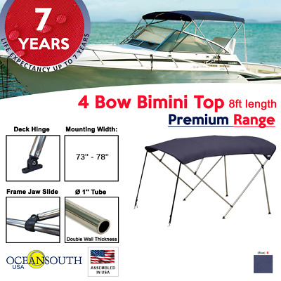 "Bimini Top 4 Bow 73""-78"" Wide 8ft Long Blue PREMIUM RANGE With Rear Poles"