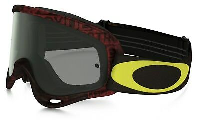Oakley NEW Mx O-Frame Distress Tagline Red Yellow Dark Tinted Motocross Goggles