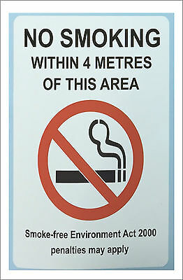 NO SMOKING Within 4 Metres Printed Sign Sticker - Choice of 2 size