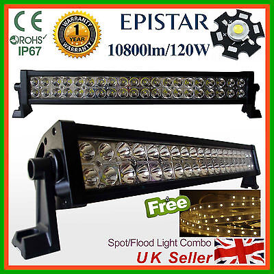 120W LED Light Bar Spot Flood Work Lamp SUV Recovery PICKUP Truck +5mt LED strip