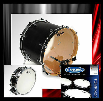 "Evans EMAD 22"" bass drum head plus 14"" snare head and Evans EC2 Tom pack"