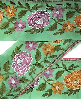 Vintage Sari Border Antique Embroidered Indian Trim Craft Ribbon Green Lace 1YD