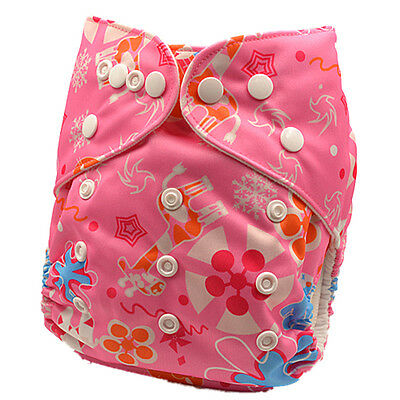 Baby Reusable Nappies for Newborn Cloth Nappy Pocket Diapers with Inserts (D92)