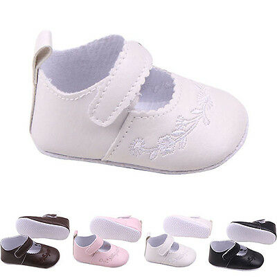 Newborn Kid Girl Pu Leather Princess Flower Crib Shoes Outdoor Baby Shoes