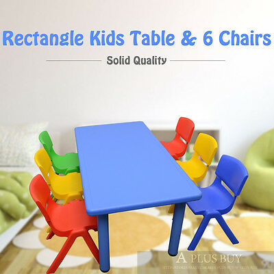 120x60cm Large Blue Kids Children Playing Study Party Desk Table & 6 Chairs