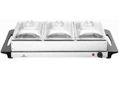 Unibos Buffet Food Warmer & Hot Plate Server 3 X 2.5Lt capacity Stainless Steel