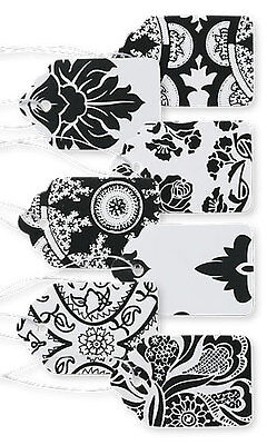 "Count of 500 New Black & White Lace Print Paper Price Tags 1 1/16""W x 1⅝""H"