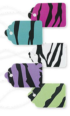 """Pack of 500 New Retails Bright Zebra Print Paper Price Tags 1 1/16""""W x 1⅝""""H"""