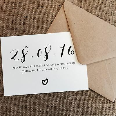 Personalised Wedding Save the Date Cards Party Invitations Shabby Chic 2017