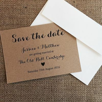 Personalised Wedding Save the Date Cards Party Invitations Shabby Chic 2019