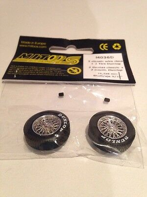 Mitoos M036D Classic Wire Wheels/Rims M026 & Classic Dunlop Tyres x2 New