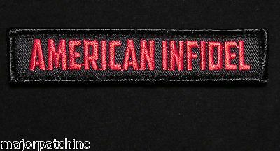 American Infidel Usa Army Morale Rocker Tab Black Ops Red Velcro® Brand Patch
