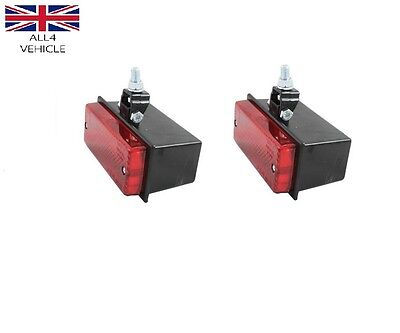2 X RED REAR FOG or STOP/TAIL LIGHT LAMP 12/24V PICK UP SUV CARAVANE E-MARKED