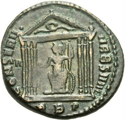 Ancient Roman Bronze Coin of MAXENTIUS TEMPLE GLOBE SCEPTRE 307 AD VERY RARE