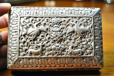 Antique Bhutanese Chaaka Silver Box detalied handrafted.total 192.4 gm weight