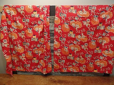 "Vintage Raggedy Ann & Andy Curtains Hand Made Vtg Fabric 2 Panels 41"" x 45"" EUC"