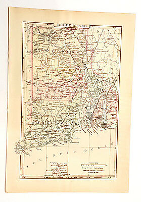 Genuine 1895 antique map of Rhode Island USA New England from Johnsons Vol VII