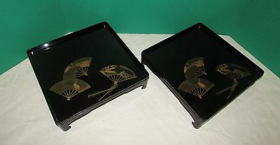 Pair Antique Japanese Meiji Period  Lacquer Trays with Gold Fan Decoration
