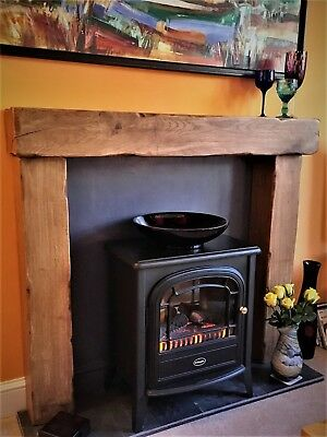 "Fire Surround For Wood Burner (54"" Width Mantle) - Made From Solid Oak Beams"