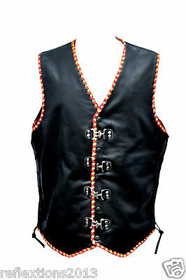 Motorcycle Vest Leather BIKER Motorbike Biker Waistcoat Yellow Red BRAIDED VEST