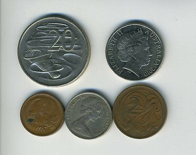Australia - Lot of 5 Coins - 1, 2, 5, 10 & 20 Cents - Exotic Animals - Lot - #25