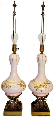 Beautiful Pair of Pink & Gold Porcelain Lamps Brass Base with Dolphins c. 1940's