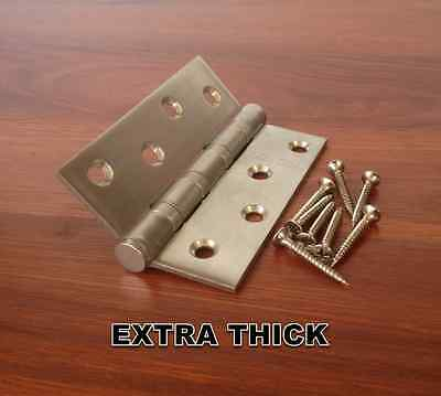 """Thick Stainless Steel 100mmX75mm/4""""X3"""" Butt Door Hinges Ball Bearing Heavy Duty"""