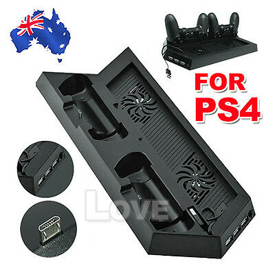 OZ Mount Vertical Stand Cooling Fan PS4 Dock Controller Charger Playstation 4