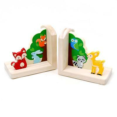 NEW Wooden Forest Friends Book Ends Bookends Childrens Decor
