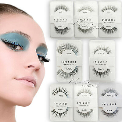 Lashes-Red Cherry 100% False Human Hair Eyelashes Makeup Eye Adhesives Handmade