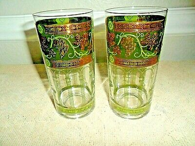 2 Mid Century 5 5/8 Inch Cera Golden Grapes Tumblers / Highball Glasses