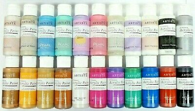 Docraft Metallic Artiste Acrylic Paint Colours Pearl Varnish and Crackle Mediums