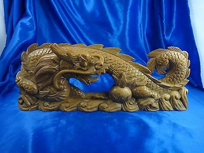 Antique Vintage Asian Chinese Hand Carved Wood Dragon Statue Figure 15""