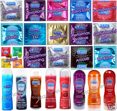 KONDOME DUREX / GLEITGEL DUREX PLAY Massage Gleitmittel 50 ml / 200 ml SORTE