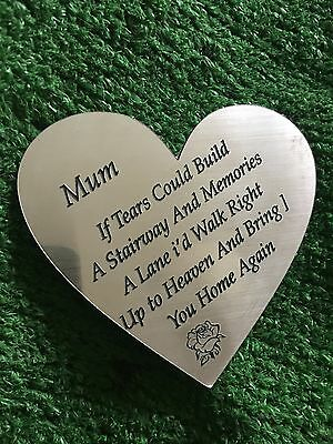 """Engraved Memorial Plaque. Grave Funeral """"mum, If Tears Could Build A """" Sign 17"""