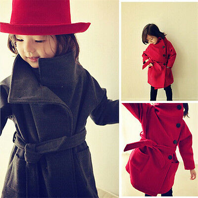 Winter Kids Girls Clothes Fleece Outerwear Long Trench Button Coat Jacket 2~7Y